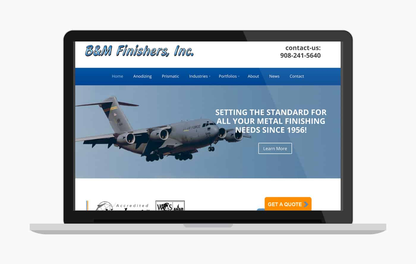 B-to-B Web Design for B&M Finishers