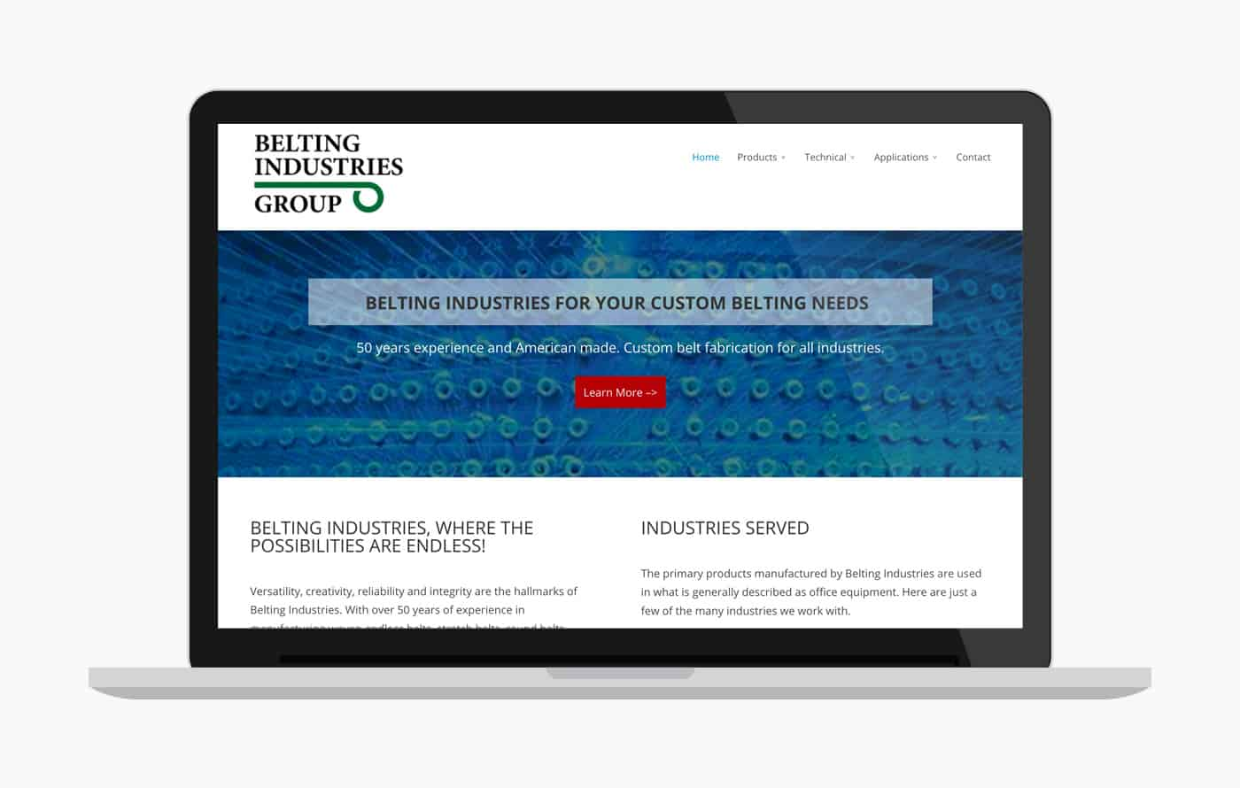 Web Design for Belting Industries