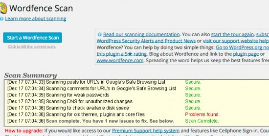 WordFence Security Scan To Prevent Hack Attempts
