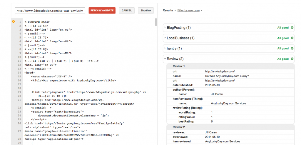 Review Schema Tested In Structured Data Tool