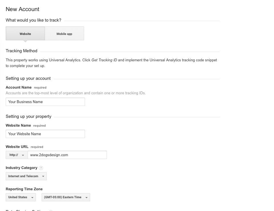 New Account Screen For Google Analytics