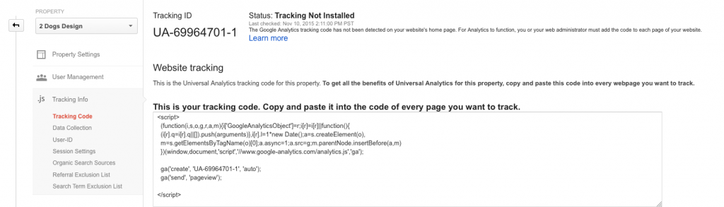 Analytics Tracking Installation Status