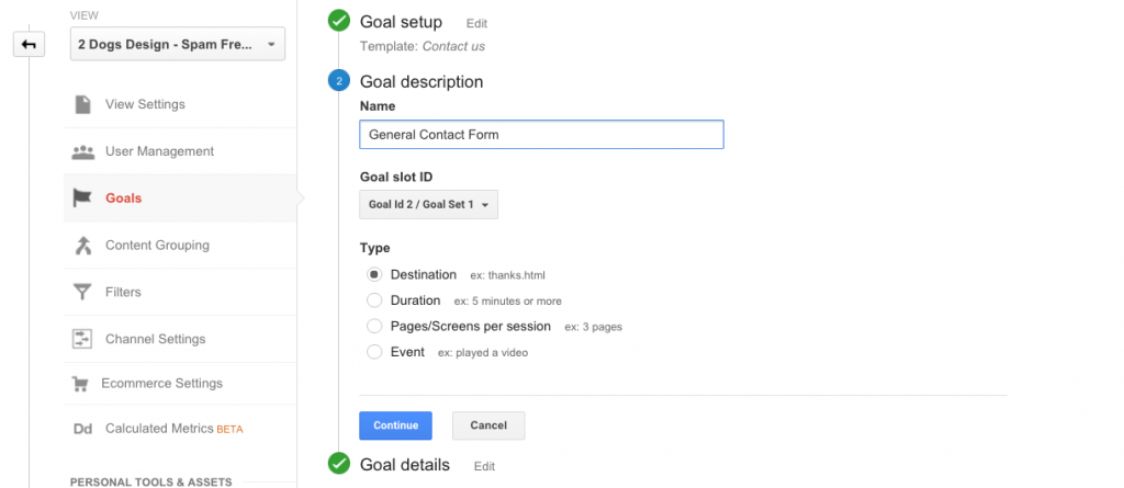 Goal Description Settings Analytics
