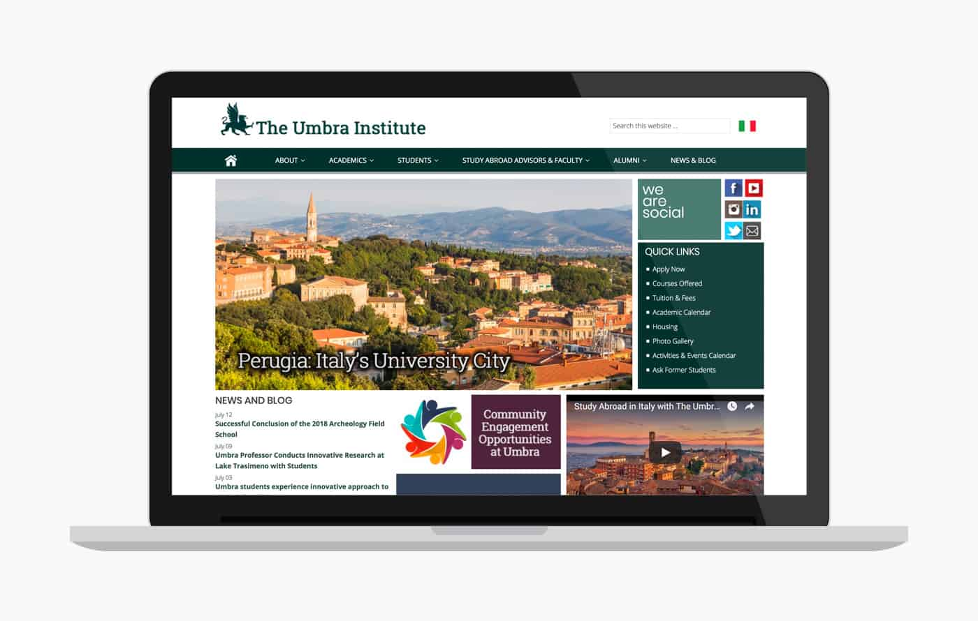 College Website Design - Umbra Study Abroad