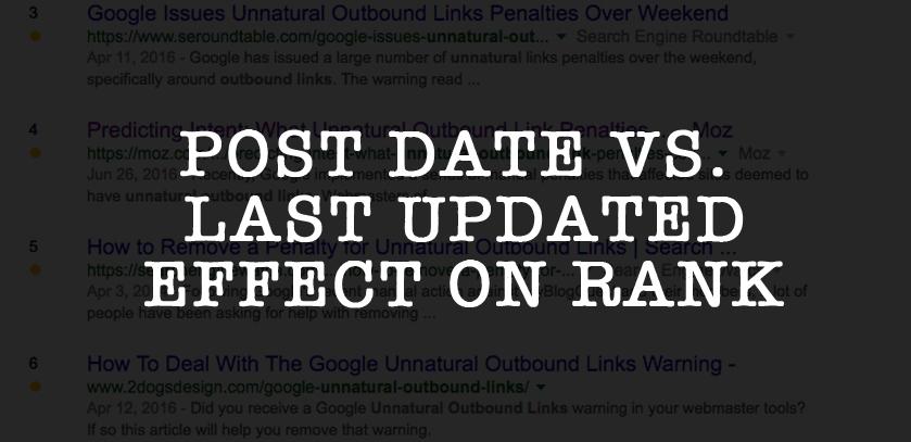 Post Date versus Last Updated Effect on Rank