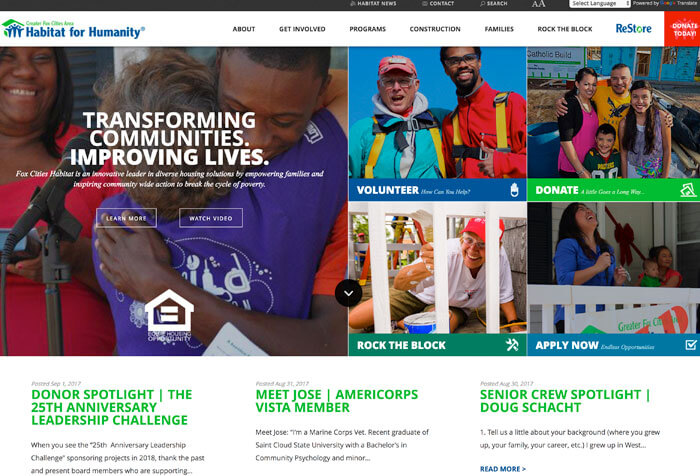 Fox Cities Habitat Humanity Nonprofit Website Design