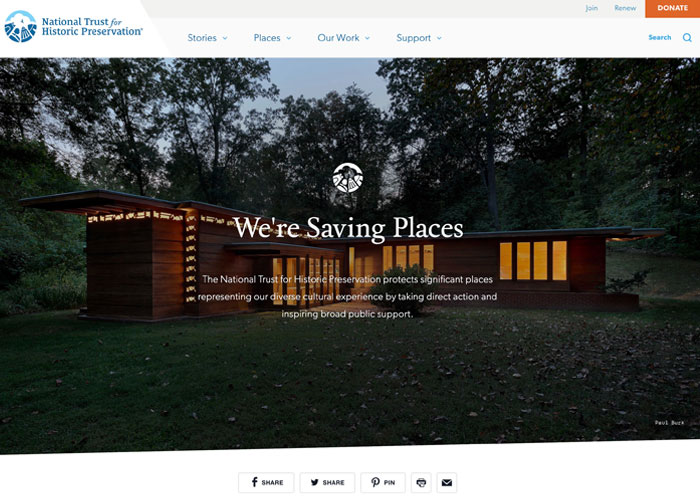 Great Nonprofit Website From Historic Trust for Preservation