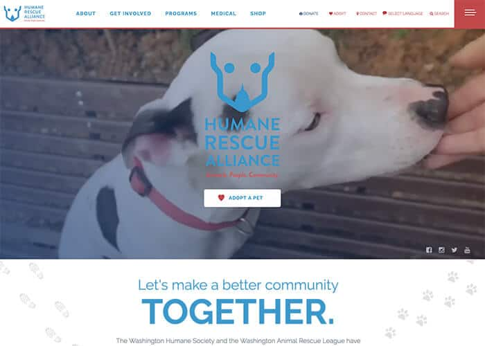 Humane Rescue Alliance Nonprofit Website Design