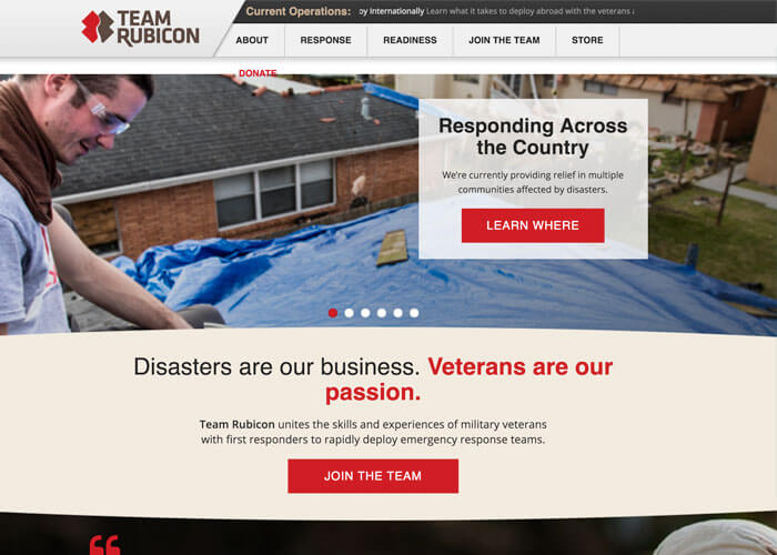 Team Rubicon - Best Nonprofit Website