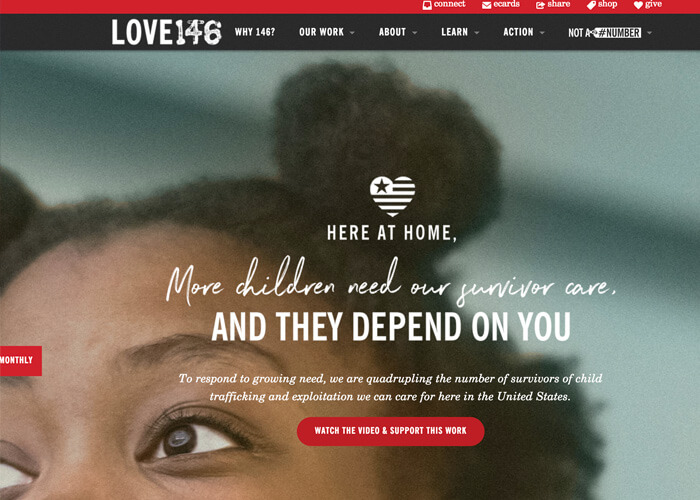Best Nonprofit Website Designs - Love146
