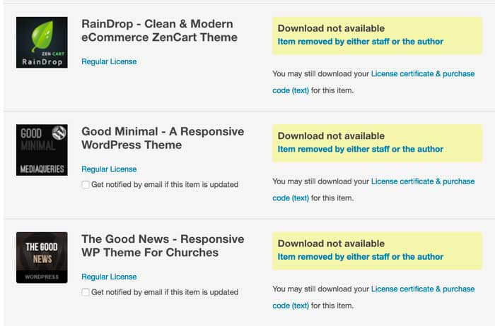 Themeforest themes not recommended