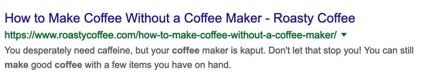 Meta Description for Roasty Coffee