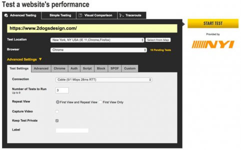 Webpagetest Testing Setup