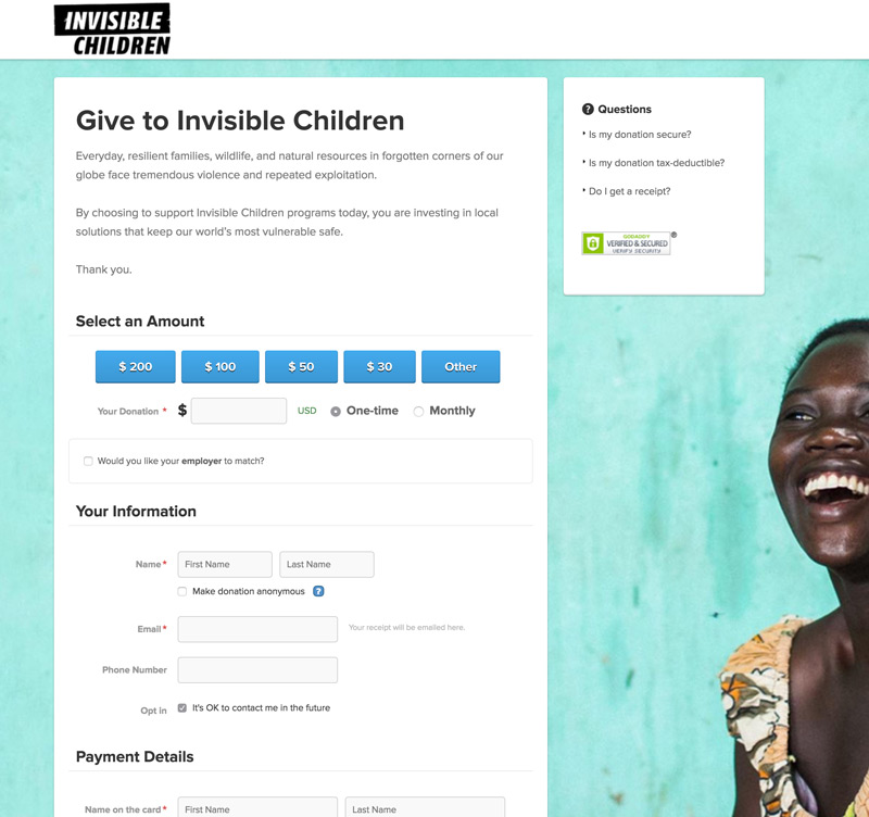 Donation Page Examples - Invisible Children