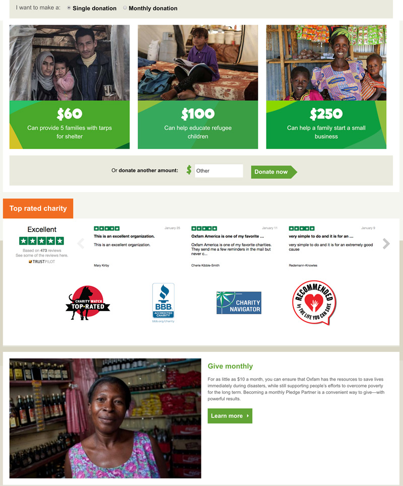 Oxfam Donation Page - Great Example