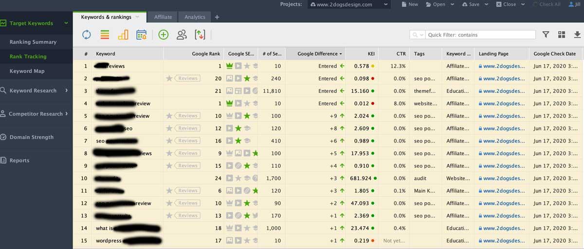 rank tracker screen