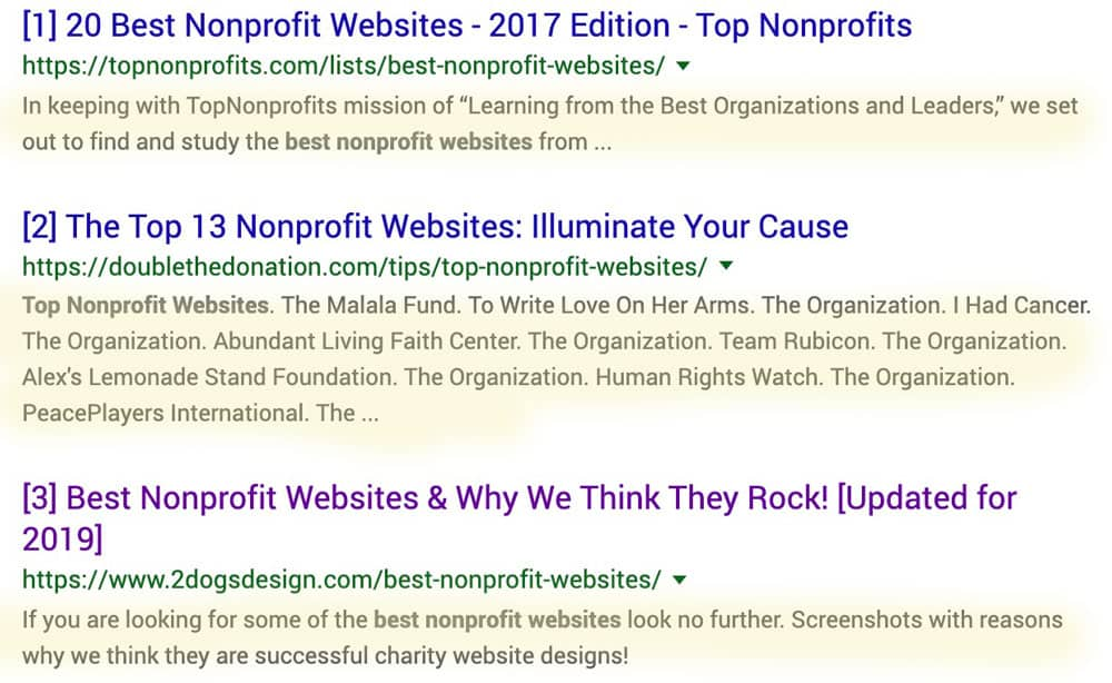 Sample descriptions in the search results.