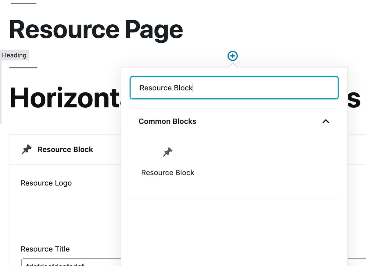 Adding a new block to WordPress page