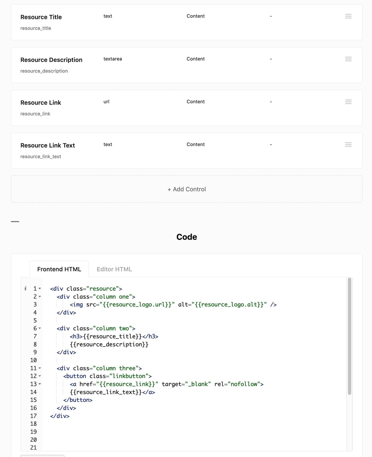 Frontend HTML code in LazyBlocks