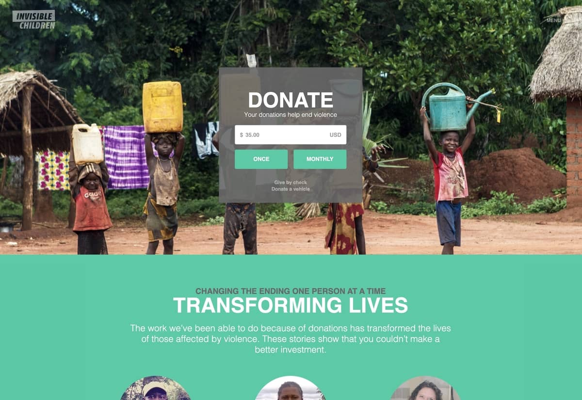 Donation Page Design for Invisible Children