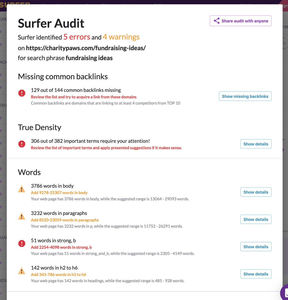 Surfer SEO Audit Tool