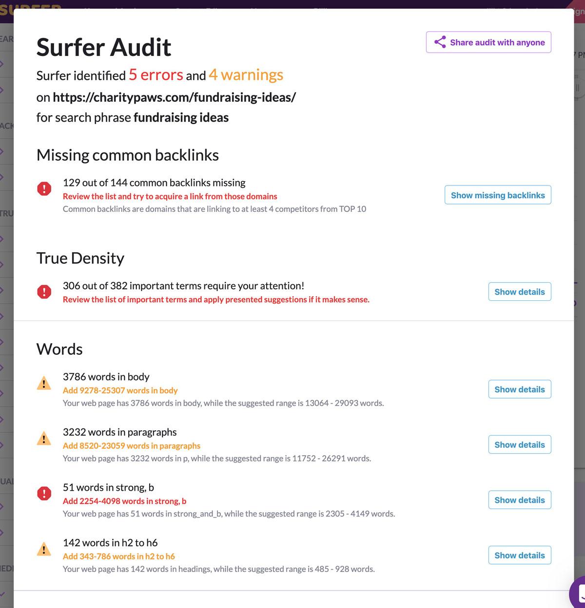 Surfer SEO Audit Tool