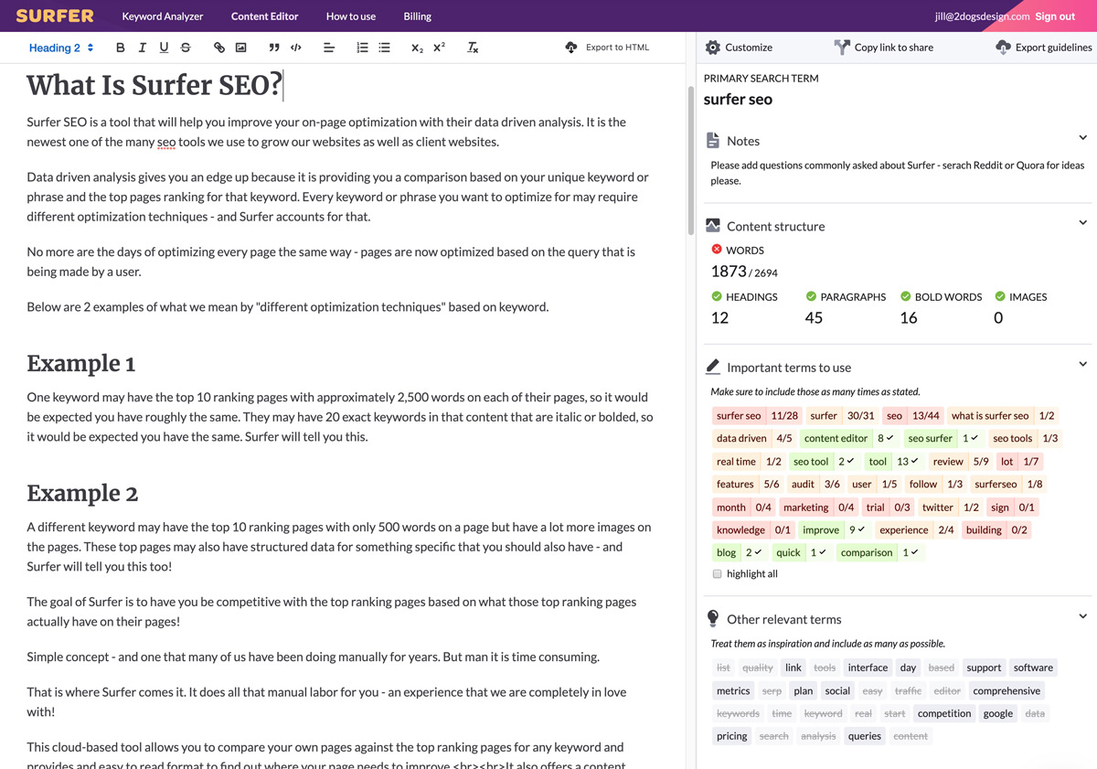 Surfer SEO real time content editor