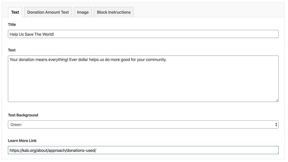 Donation block text fields