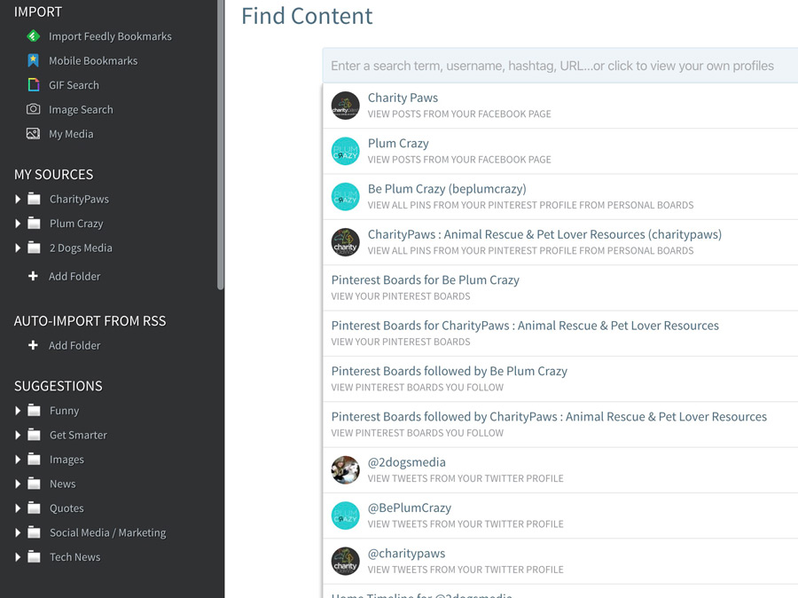 Find content to share in Smarterqueue