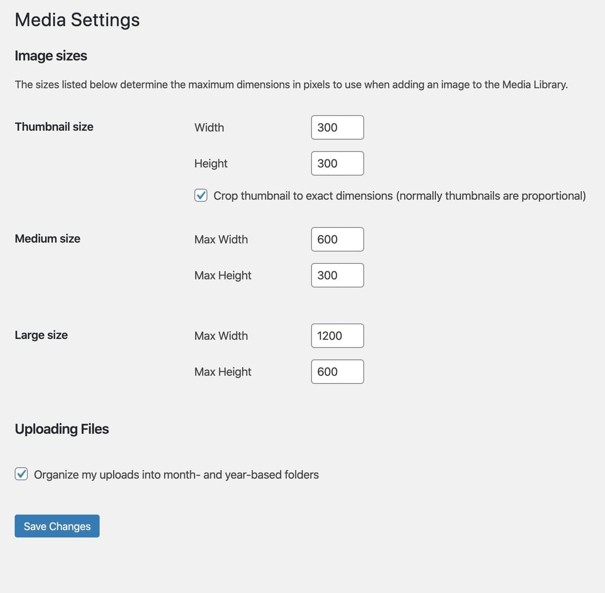 Media Settings in WordPress