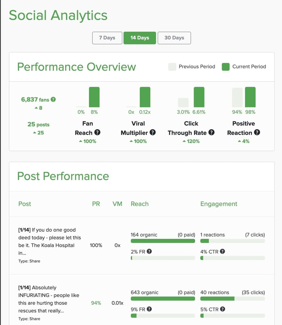 Diib social analytics report example
