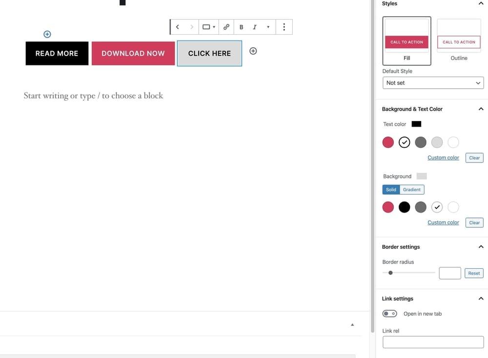 Button block in WordPress 5.4