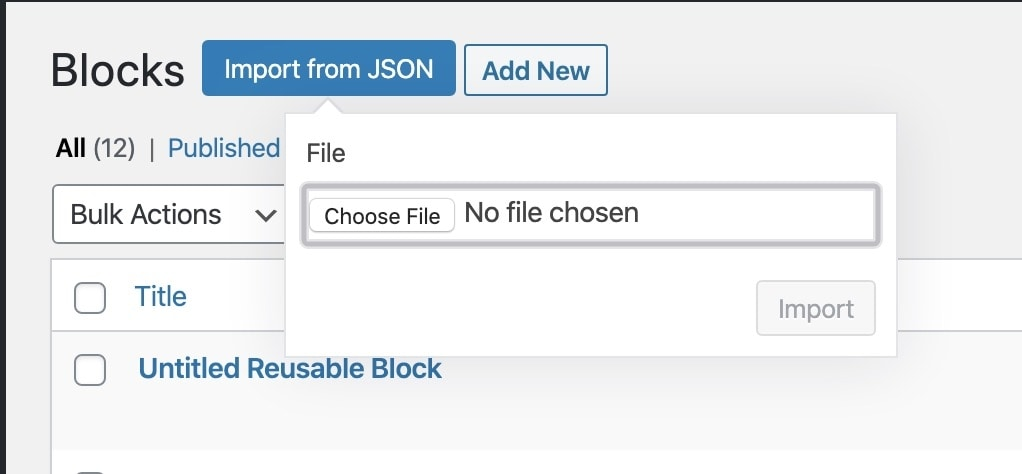 Wordpress reusable block example import