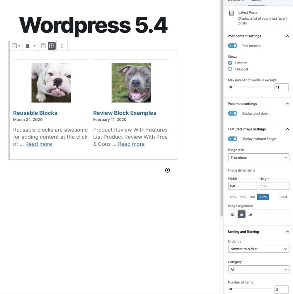 Latest posts block updates in WordPress 5.4
