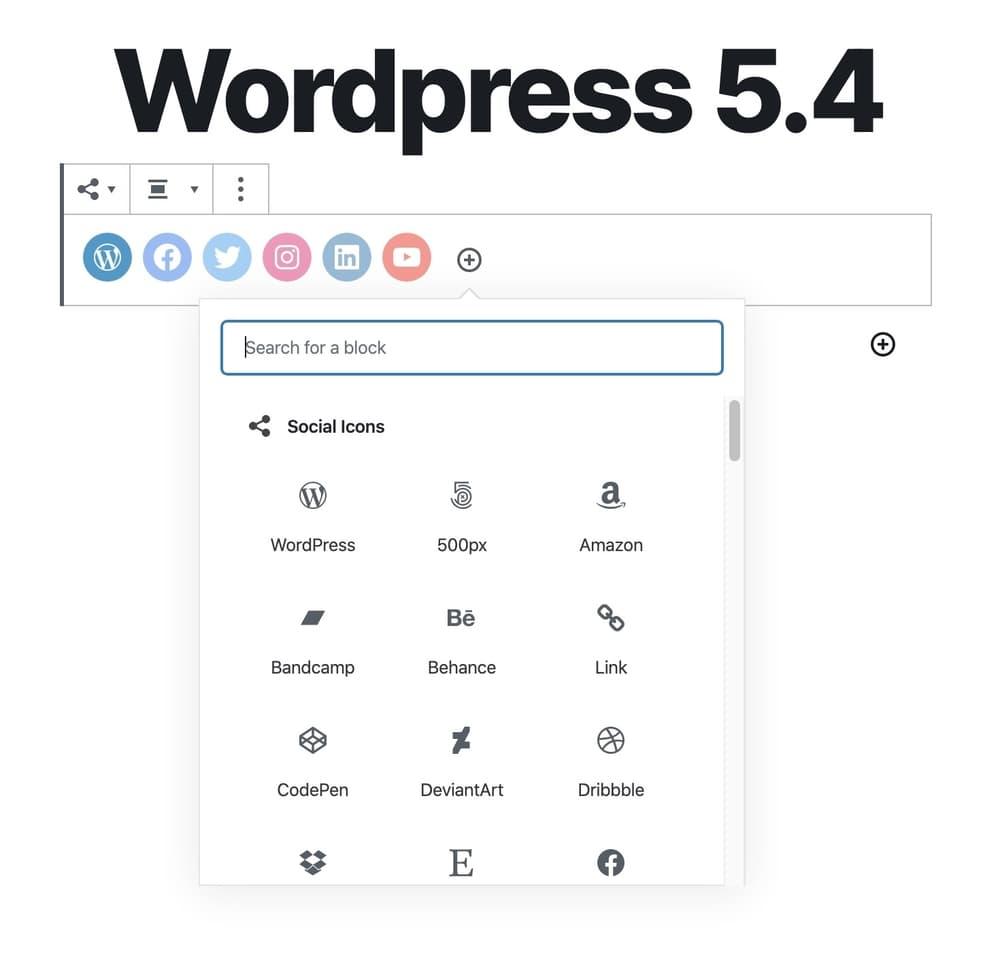 Social media icon block WordPress 5.4