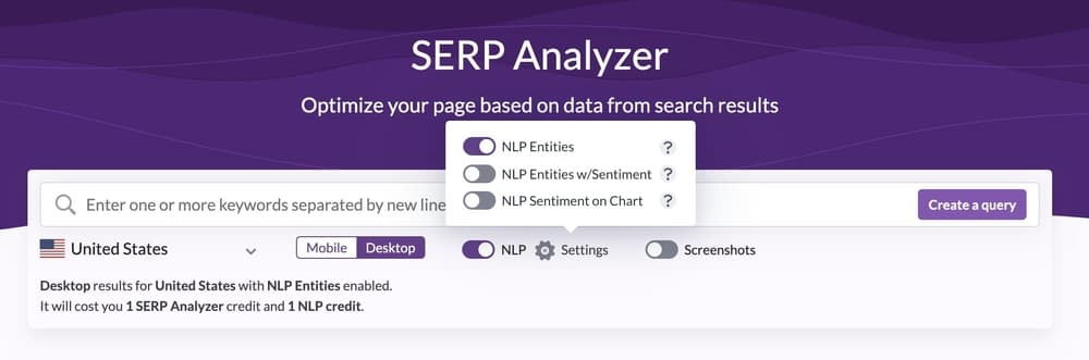 Surfer SEO analyzer tool