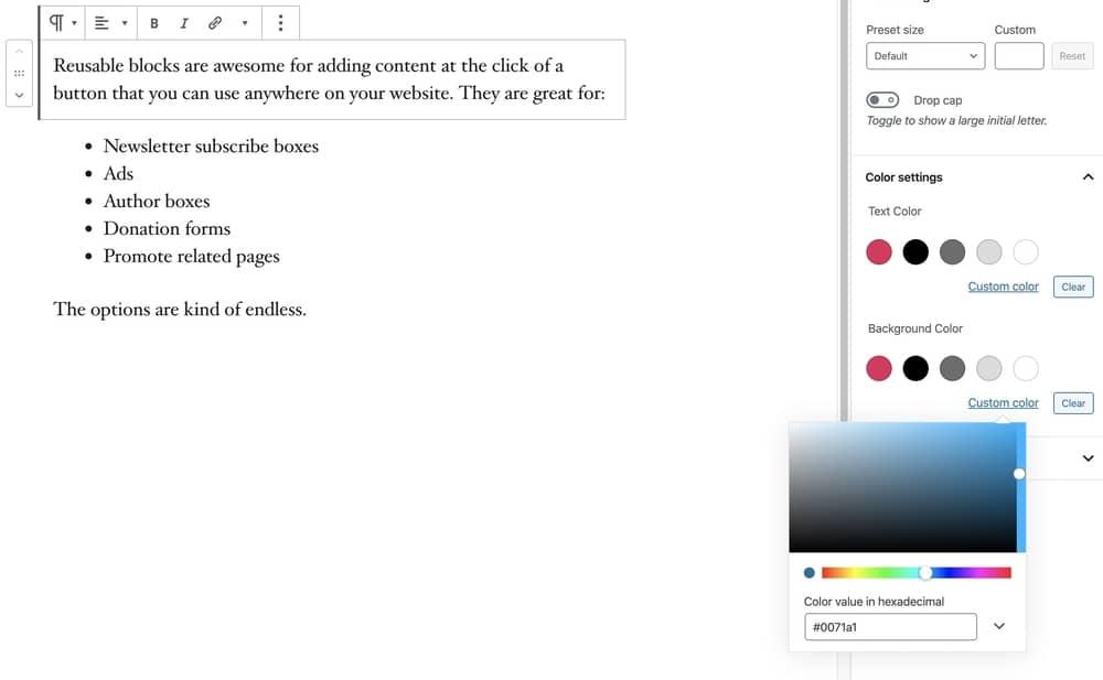 Custom color palette in WordPress