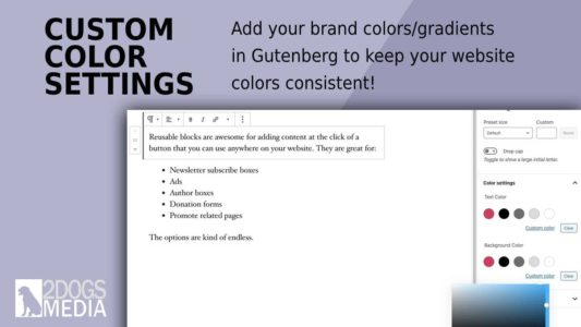Adding custom colors to Gutenberg blocks