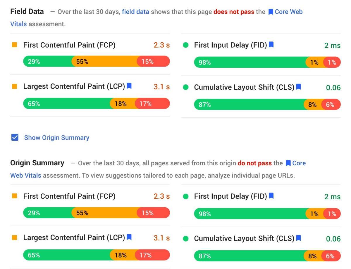 example of origin summary pagespeed insights
