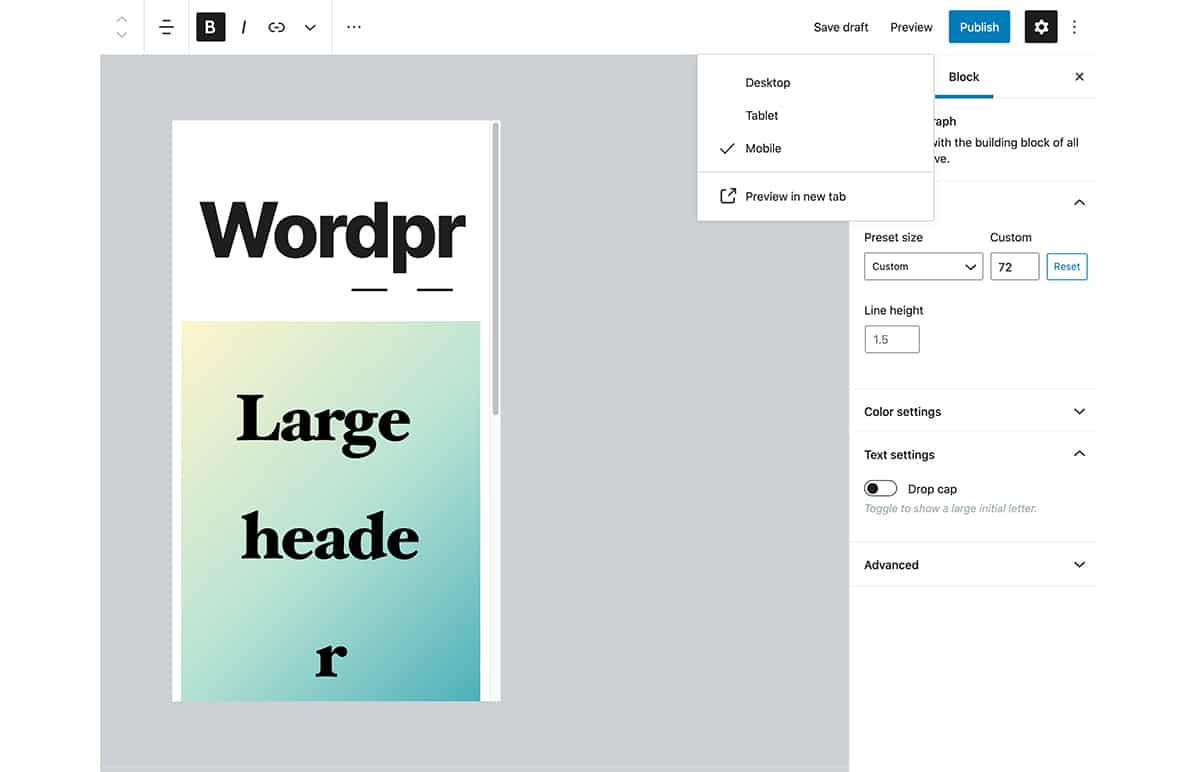view mobile preview in editor