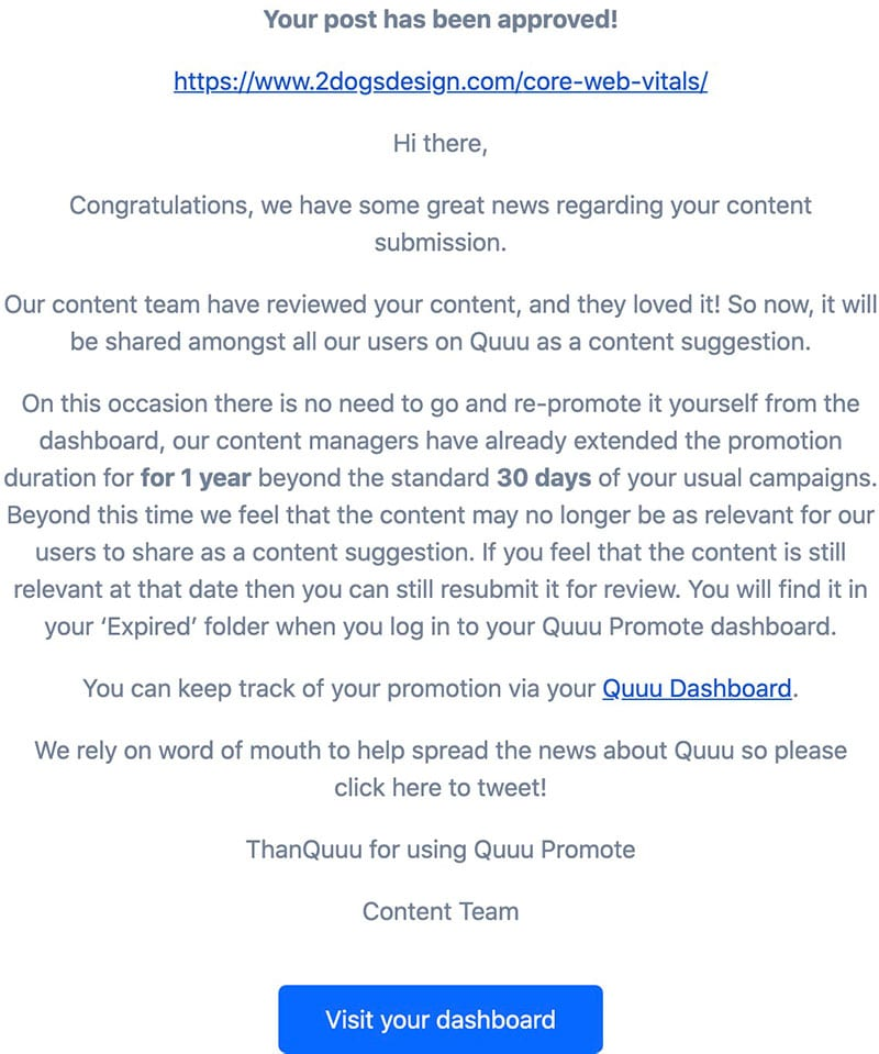 Quuu promote approval email